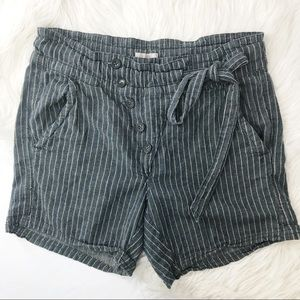 •Free People• Linen Striped Shorts Waist Tie